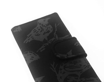 Women's Wallet, Black Fabric Clutch, Vegan Wallet, Ravens - Black and Grey