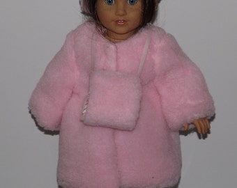 Pink Faux Fur Coat - fits American Girl Dolls and other 18 inch dolls