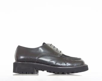 90s Black Patent Leather Lace Up Dress Shoes / Women's Size 7 US - 37/38 Eur - 5 UK