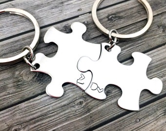 Initial Keychains, Personalized Couples Keychains, Couples Gift, Anniversary Present, Stainless Steel Keychain, 1st year anniversary gift