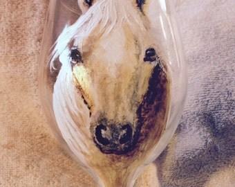 Palomino horse wine glass