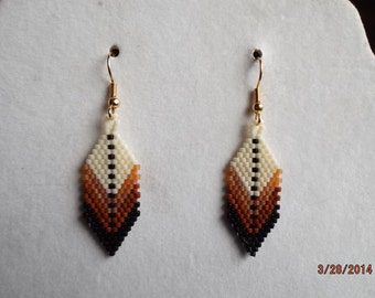 Native American Style Beaded Eagle Feather Earring in Browns Southwestern, Hippie, Boho, Brick Stitch, Peyote, Loom, Gypsy,  Great Gift