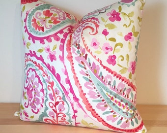 "Decorative Throw Pillow Cover 16""  P Kaufmann Watercolors Orchid Pink Purple Aqua Green"