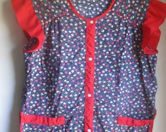 1960s 70s Artsy Smock Top Flower/Polkadot Print w/ Red Trim & Pockets Large