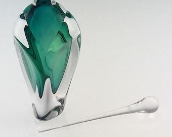 Hand Blown Glass Perfume Bottle - Jade Green Overlay  by Jonathan Winfisky