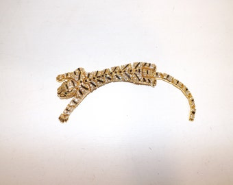 Vintage large leopard tiger wild  cat shoulder brooch articulated Wallis Simpson Jewellery influenced