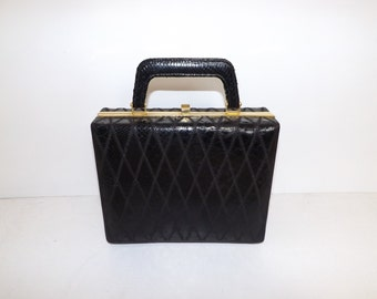 Vintage black real snakeskin leather patchwork boxy box handbag grab bag case