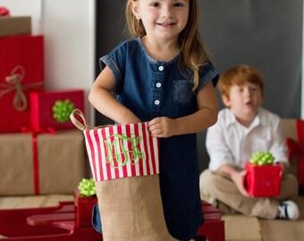 Burlap Christmas stocking, Personalized Burlap stockings, family Christmas stocking,