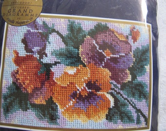 Bucilla Needlepoint kit Perfect Pansies / 7 x 5 inch pansy needlepoint picture kit