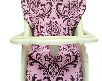 Reversible! Pink Brown Damask with Small Brown Pink Dot Reverse High Chair Cover Replacement.