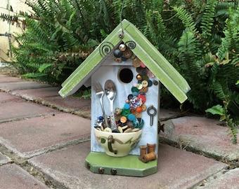 Birdhouse, Ceramic Floral Teacup With Vintage Buttons, Spoon & Fork, Functional Garden Bird House For Birds, Birdhouses, Item #466439882