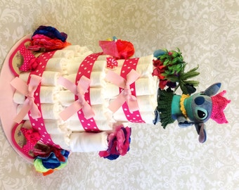 Aloha! Baby Girl 3 tier Diaper cake, a Hawaiian themed Hula cake - an adorable diaper baby shower gift - made to order