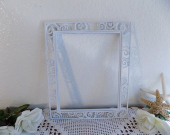 White Shabby Chic Picture Frame 8 x 10 Photo Decoration Upcycled Vintage Whimsical Rustic Shabby Chic Distressed Wedding Gift Her Home Decor