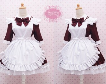 Custom in Your Size & Color Two Way Maroon Cotton Maid Dress And White Apron in Simple Victorian Style Dress - Kawaii Maid Costume