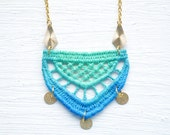 Mint and Blue Ombre Lace and Gold Necklace