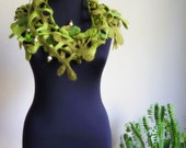 "CHRISTMAS SALE ""Little mistletoe"" lightweight scarf, wet felted pure wool fancy garment, one-of-a-kind handmade accessory"