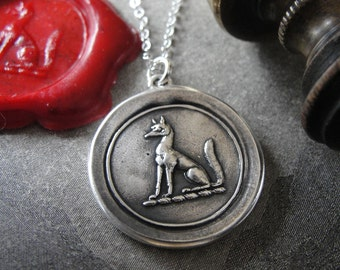 Fox Wax Seal Necklace - antique wax seal jewelry with fox crest