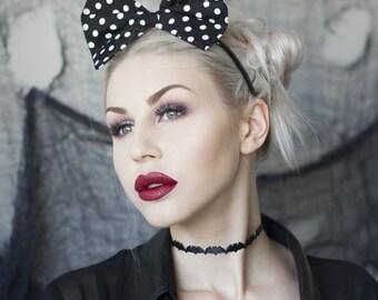 Black & white polka dot bow headband Rockabilly Pin up girl