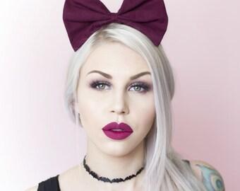 Burgundy bow headband Rockabilly Pin up girl
