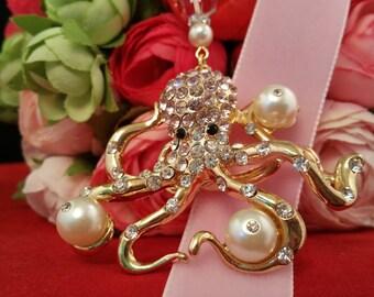 Octopus, Pearls, and Bling Velvet Ribbon Bookmark