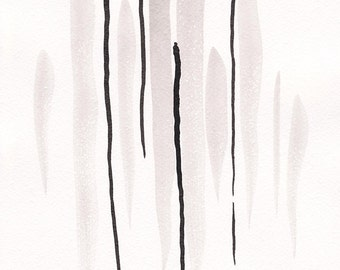 Original black and white strokes painting. Modern wall art. Abstract brush lines illustration.
