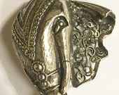 Vintage Silver Tone Elephant Brooch