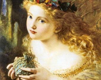 Take The Fair Face Of Woman Sophie Anderson 1869. Vintage Reproduction Print 11 x17
