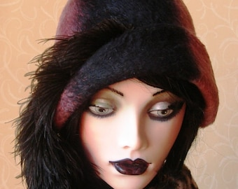 Two tone fur felt cloche hat