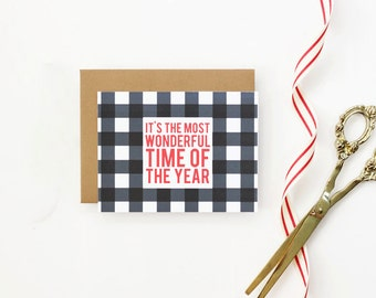 Personalized Christmas Cards Custom Buffalo Check Holiday Card Black and White Christmas Card Plaid Holiday Note Cards Tartan Greeting Cards