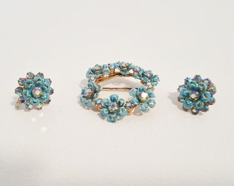Blue Floral Pin Brooch Earring Set Enameled Jewelry Flower Pin Earrings Rhinestone Jewelry Midcentury Vintage Jewelry Set Gift for Her