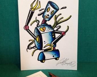 4x6 Original hand painted Robot postcard