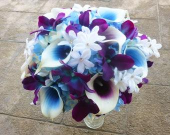 Purple blue galaxy orchid, purple picasso calla lily, blue picasso bridal bouquet, Stephanotis, turquoise