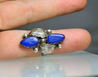 Vintage Lapis Lazuli Sterling Silver Ring Size 7 Zuni Tribe Southwestern Native American Jewelry Handmade Jewelry Simplicio