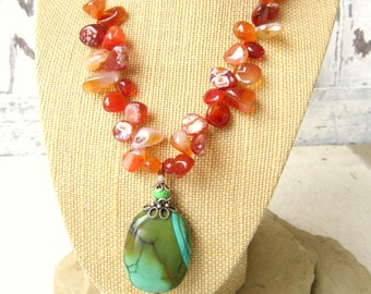 Carnelian & Turquoise Necklace. Chunky Carnelian Statement Necklace.Genuine Turquoise Pendant Necklace.Genuine Turquoise Jewelry