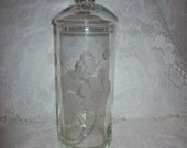 Vintage Glass Apothecary Jar Canister w/ Etched Floral Design Only 10 USD