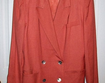 Vintage Ladies Coral Double Breasted Blazer by Nicole Summers Size 10 Only 5 USD