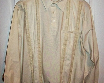 99 CENT SAlE Vintage Men's Off White Half Button Shirt by John Blair Extra Large NOS Now .99 USD