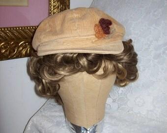 SALE 50% Off Vintage Ladies Tan Corduroy Newsboy Hat Cap Medium Now 2.50 USD
