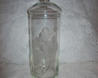 Vintage Glass Apothecary Jar Canister w/ Etched Floral Design Only 9 USD