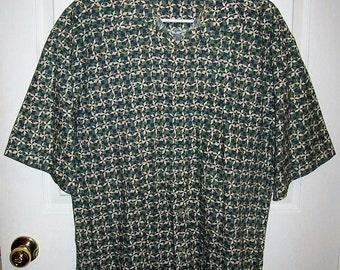 SALE 30% Off Vintage Men's Green Geometric Print Shirt by Pierre Cardin Large Now 3.50 USD