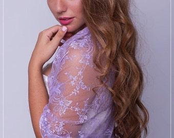 Lilac Lace Shrug Versatile Top- Shrug, Shawl, Twisted Shawl And Scarf.  Lilac Lace Fashion Accessories, Bridal Bolero, Wedding Shrug DL