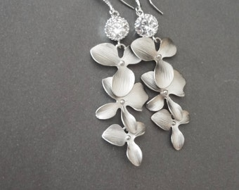 Bridal jewelry - Silver orchid earrings - Sterling silver ear wires - Cubic Zirconias - High quality - Wedding jewelry - ANA