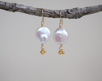 Coin pearl earrings, earrings, gold filled, coin pearl earrings with gold beads, gold, freshwater pearl earrings, freshwater pearls