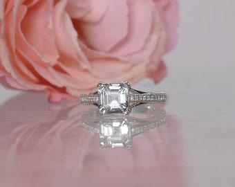 Engagement Ring, Asscher Cut Engagement Ring, Asscher Ring, Square Gemstone Ring, Herkimer Diamond Ring, Conflict Free Ring, Gemstone Ring