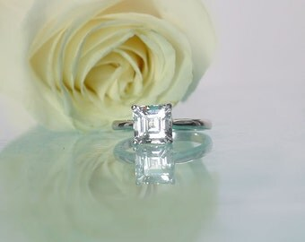 Square Solitaire Ring, Square Gemstone Ring, Asscher Ring, Asscher Cut Ring, Asher Cut Ring, Herkimer Diamond Ring,