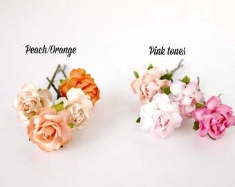 Pink Orange Flower Hair Pin, Woodland. Floral Hair Pins. Wedding. Whimsical. bridesmaids, spring, summer, hair accessories, peach hair clips
