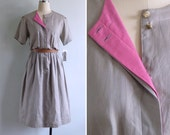 Vintage 80's 'Pop of Pink' Khaki Military Cotton Dress S or M