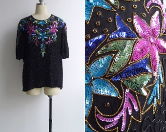 Vintage 80's 'Starstruck' Sequin Beaded  Disco Blouse Top M L or XL