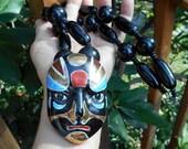 Kabuki Japanese Porcelain Mask Necklace Japanese Dance-Drama Theater w/ Elaborate Make-up Preformers.  Large Necklace Heavy Lacquered Beads
