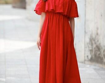 Red Beach Dress , Chiffon Party Dress, Bridesmaid Dress - NC733